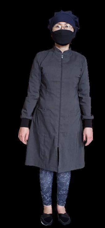 Long Mandarin - Square Pocket  with Knitting  Cuff
