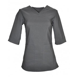 PULL OVER V NECK- SQUARE POCKET 3/4 LENGTH SLEEVE