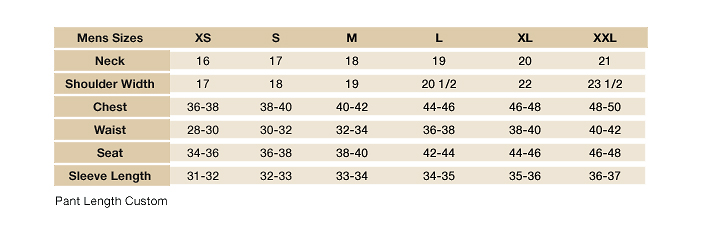 Men Style Size Chart