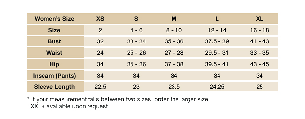 Women Style Size Chart